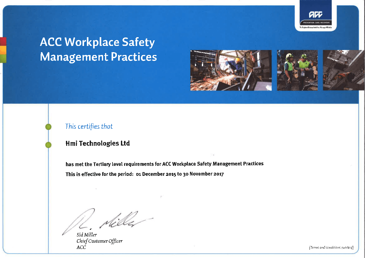 ACC Certification for Workplace Safety Management Practices