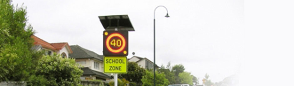 LED School Zone safety signs by HMI Technologies, Auckland NZ and Melbourne Australia